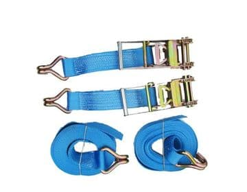 2 x 75mm x 10 metre RATCHET LASHING STRAPS MBL10T Tie Down Claw Hook trailer